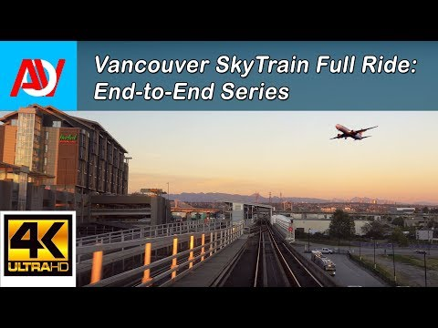 Vancouver SKYTRAIN FULL RIDE: CANADA LINE INBOUND, YVR Airport to Waterfront End-to-End - 4K