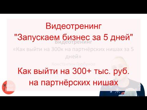 Видеотренинг «Запускаем бизнес за 5 дней», как выйти на 300+ тыс. руб.  на партнёрских нишах