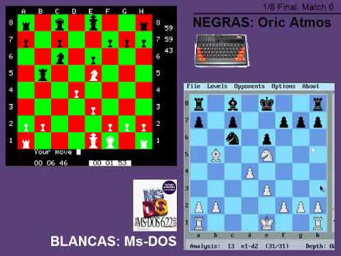 AJEDREZ - | MS-DOS vs Oric Atmos | - 1/8 Final. Match 6