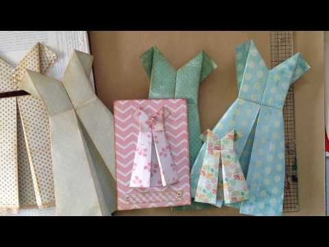 how to fold a simple paper dress...  for a card or ...