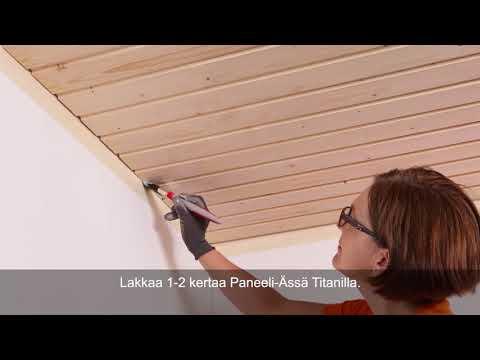 Näin lakkaat paneelikaton Paneeli-Ässä Titan. Lue lisää www.tikkurila.fi/paneeliassatitan.