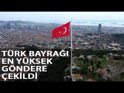 Cumhurbaşkanı Erdoğan 1000 Metrekarelik Türk Bayrağını En Yüksek Göndere Çekti