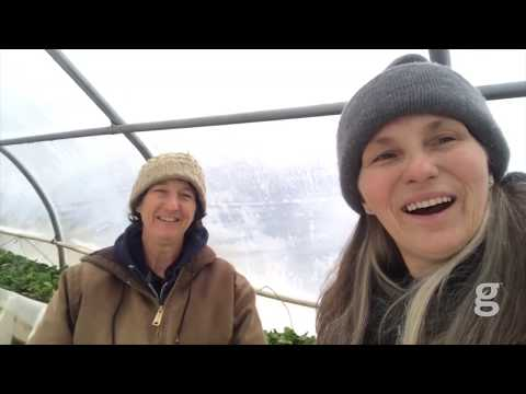 Marjory Wildcraft and Lynn Gillespie tour the tomato greenhouse