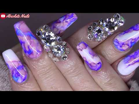 PINK AND BLUE MARBLE INKS ON ACRYLIC NAILS + BLING! | ABSOLUTE NAILS