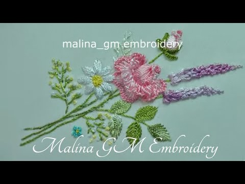 Floral embroidery : Rose || New design | easy stitch | Brazilian embroidery