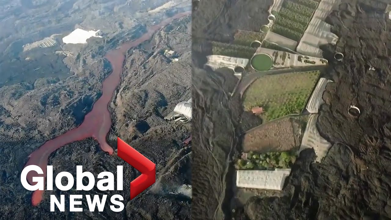 La Palma volcano: Drone video shows devastated island engulfed by black lava