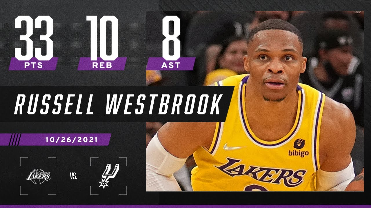 Russel Westbrook's best game as a Laker so far! 33 PTS, 10 REB, 8 AST & 1 HUGE OT dunk 🔥