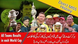 ICC Cricket World Cup Winners List | All Teams results in each cricket World Cup