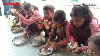 Roti With Salt Served As Mid-Day Meal For Primary School Students In UP's Mirzapur