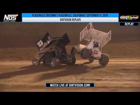 DIRTVision Replays from Placerville Speedway in Placerville, California on September 11th, 2019 - World of Outlaws NOS Energy Drink Sprint Cars - dirt track racing video image