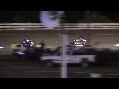 Feature Results:  1st) #8 Sam Darby 2nd) #6 Evan Darby (-0.421 secs) 3rd) #25BAD Tyler Allison (-4.546 secs) 4th) #8M Macey Adamik (-11.301 secs) DNF) #18L Luke Mulichak (-9 Laps) DNS) #15 Nathan Shook - dirt track racing video image