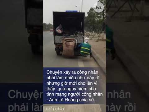 Hà Nội: Công nhân vắt vẻo sau xe ô tô nhặt rác trên cao tốc
