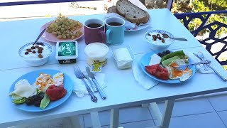 Berna's Delicious Mutlu Bayramlar Turkish breakfast. Gümüşlük Bodrum. Travelling Turkey