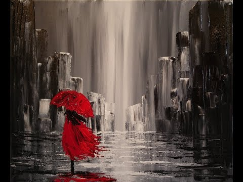 A Walk in the Rain Step by Step Acrylic Painting on Canvas for Beginners - UCW4Afe-CtYM5kp6FJEUPTFA