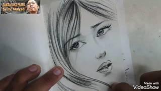menggambar wajah cantik dalam 7 menit saja beautiful face drawing in 7 minute no timelaps