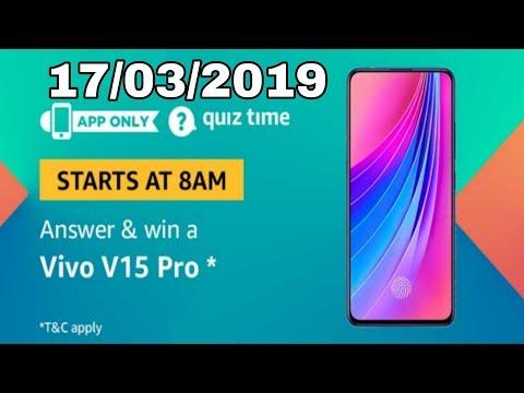 Amazon quiz answer today and win Vivo v15 pro | 17 March 2019