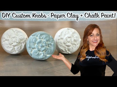 Anthropologie + Pottery Barn Inspired | DIY Unique Custom Knobs | Paper Clay + Chalk Paint | Floral