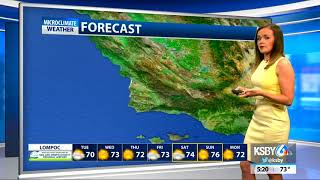 Winds gusting up through midweek as warmer weather moves into Central Coast