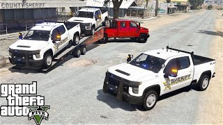 GTA 5 Real Life Mod #192 Delivering 2020 Chevy 2500HD Silverado To The Sheriff Department