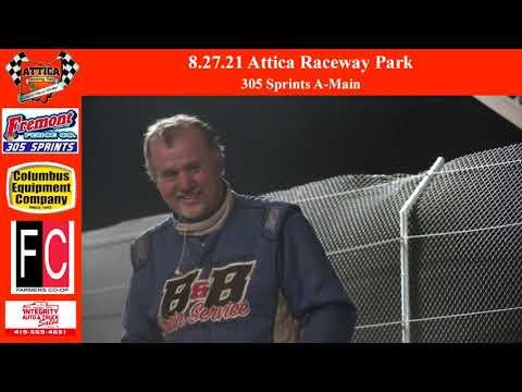 8.27.21 Attica Raceway Park 305 Sprints A-Main - dirt track racing video image