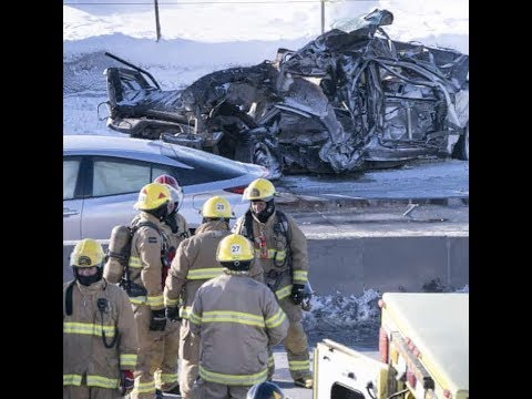 Breaking Apocalyptic Car Crash 200 Cars 69 Hurt Montreal Canada