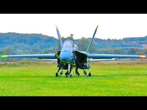 STUNNING AMAZING HUGE RC F-18 BLUE ANGELS SCALE MODEL TWIN TURBINE JET FLIGHT DEMONSTRATION - UCH6AYUbtonG7OTskda1_slQ