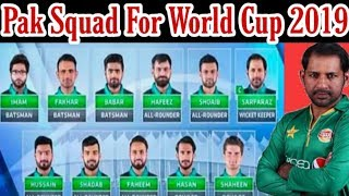 Pakistan 15 Member Squad For World Cup 2019 / Mussiab Sports /