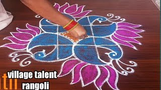 #SIMPLE PEACOCK LOTUS RANGOLI DESIGN FOR BEGINNERS WITH 5DOTS MADE EASY TO DRAW FOR EVERYONE