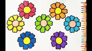 Colouring and Drawing Flower for kids// Drawing for kids//How to draw a Rainbow Flower//2019