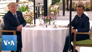 President Donald Trump Sits Down With Macron For Lunch Ahead of G-7 Summit