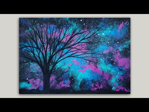 Time-lapse Sponge Painting a Galaxy and Tree Silhouette Acrylic Painting Demonstration