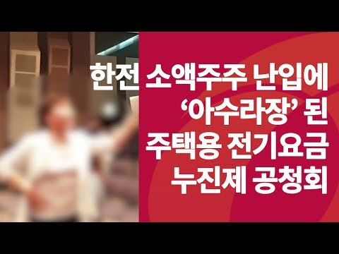 한전 소액주주 난입에 '아수라장' 된 전기요금 공청회