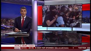 Police and protesters clash again (Hong Kong) - BBC News - 13th July 2019
