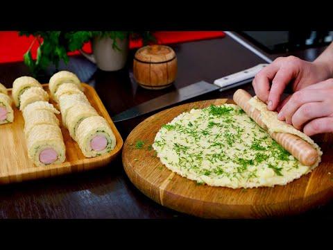 ПРОСТОЙ ПЕРЕКУС Картофельные пенечки с сосисками    Simple snack recipe