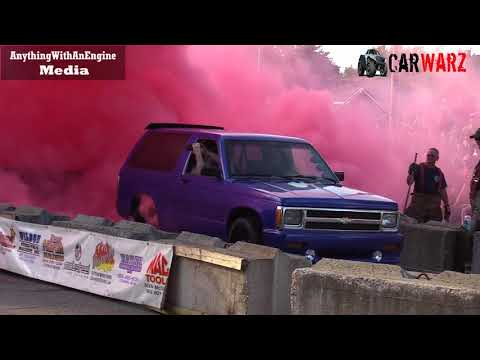 Purple Chevy Pink Smoke At Rod Benders Burnout Competition