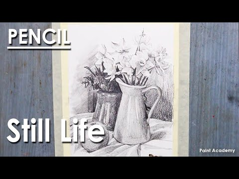 Still Life Drawing in Pencil : A Composition on Flower vase