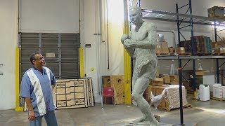 Full-body sculpture of Ezzard Charles revealed to family