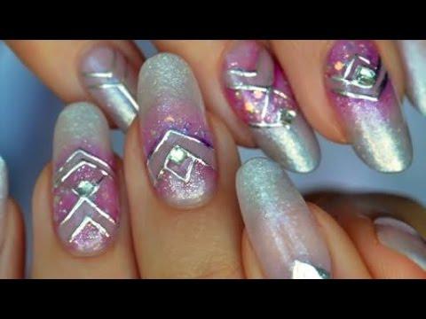 Nail art watercolor & Gel Foil