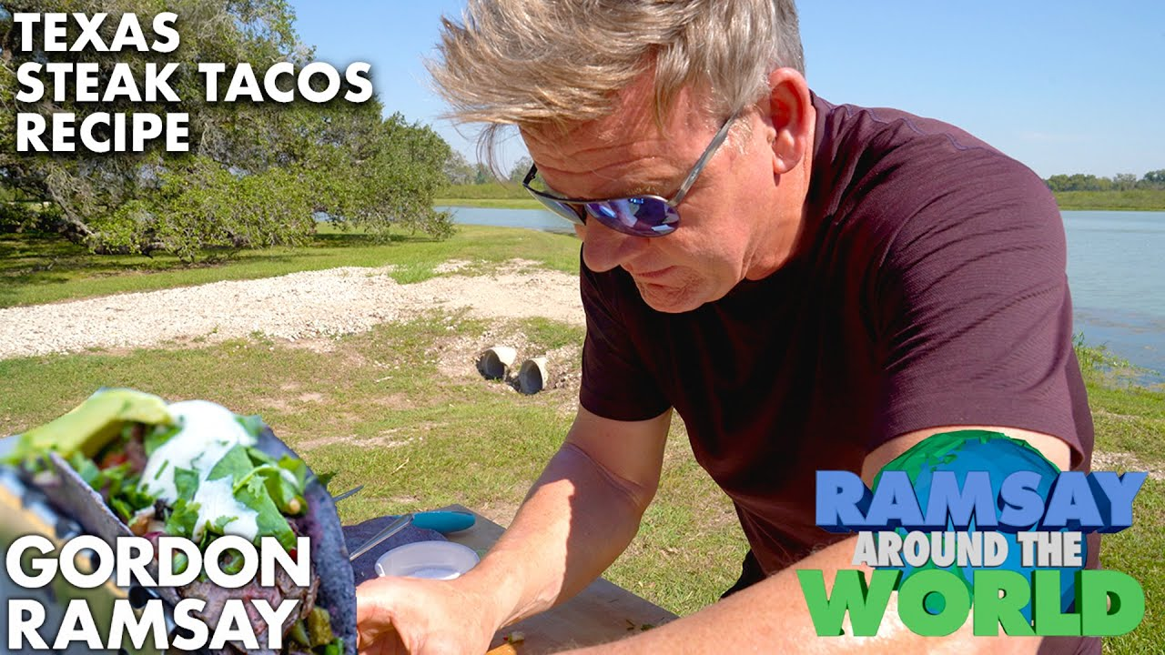 I Grill up Blue Corn Steak Tacos in Texas   Gordon Ramsay
