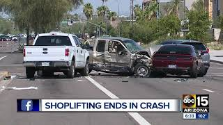Police: Walmart shoplifting suspect steals car, causes 5-car crash in Scottsdale