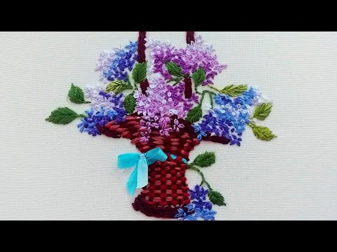 How to embroider lilac flowers | Art embroidery | easy stitch