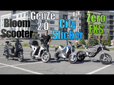 Urban ELECTRIC scooter & motorcycle comparison! (Zero vs GenZe vs City Slicker vs BloomScooter)
