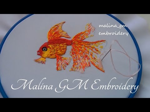 Hand Embroidery : Amazing Gold Fish | Design by Malina GM