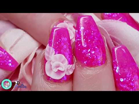 Bright Pink Acrylic Nails with 3D Flower