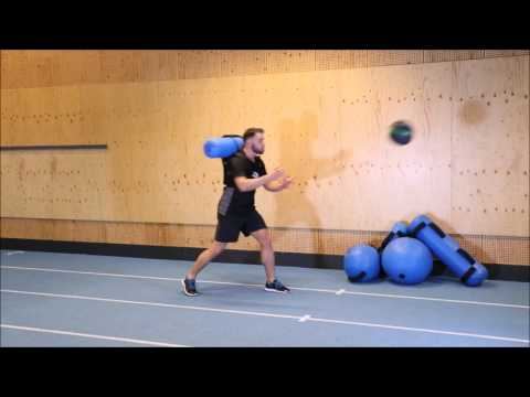 Step with Medicine Ball Catch and Throws with Hydrovest®
