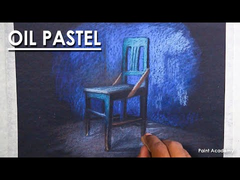 Oil Pastel Still Life Drawing : A Composition on Chair | Dark Background with Light and Shadow