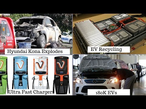 Electric Vehicles News 5: Hyundai Kona Explodes,180k EVs in China, EV recycling, Fast Chargers