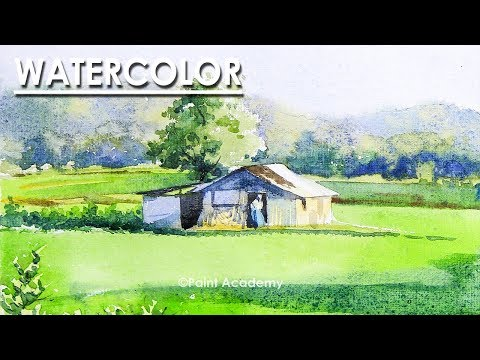 Watercolor Landscape step by step | Mountains, Trees, Houses, Field