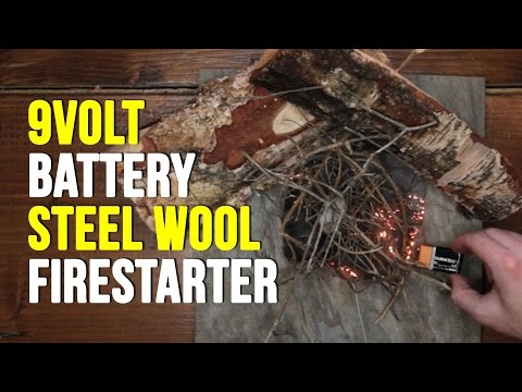 Making Fire With A 9 Volt Battery And Steel Wool