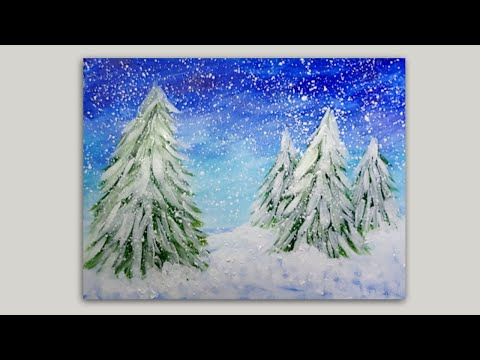 Snowy Pine Trees Acrylic Painting Wet on Wet Impressionist Painting Demonstration